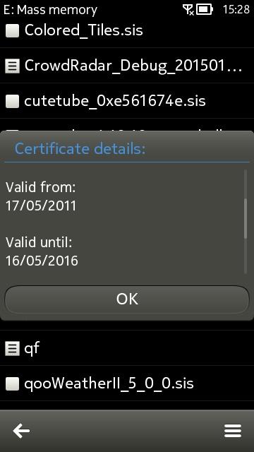 Screenshot, Email set-up Symbian