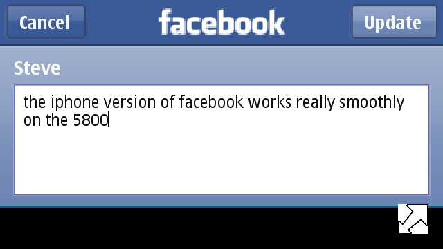 Screenshot, Facebook (iPhone) on Nokia 5800 XpressMusic