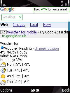 Screenshot of Google Mobile app in action