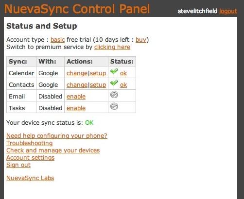 Screenshot, Nuevasync tutorial