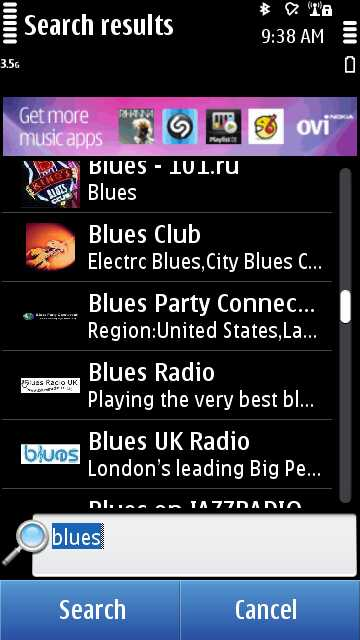 Nokia Internet Radio screenshot