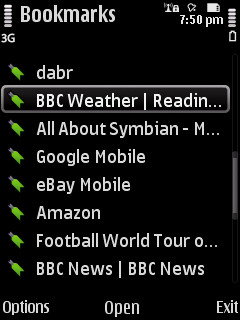 Screenshot - mobile web bookmarks