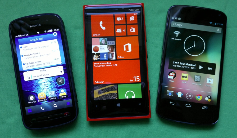 Nokia 808, Lumia 920 and Nexus 4