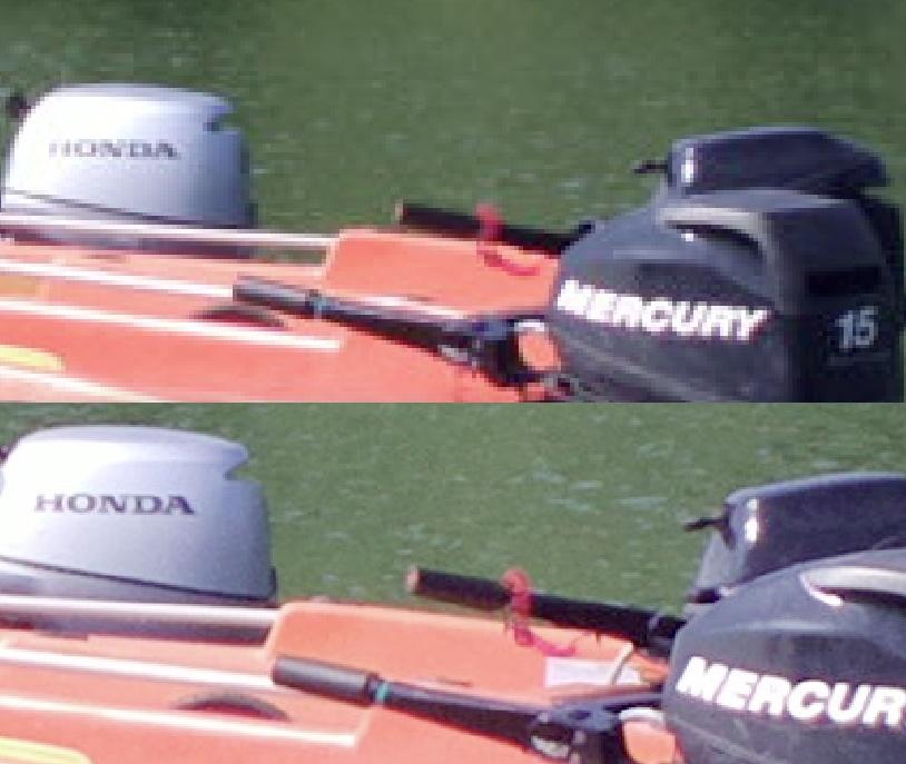 Sunny boat scene, zoom comparison