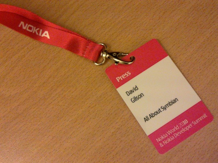 Attending Nokia World 2010 as press
