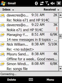 Email on the Touch Diamond (sampled down)