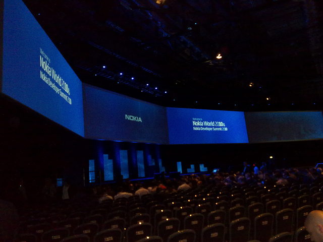 The Nokia World 2010 keynote stage