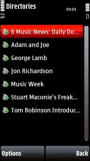 Nokia 5800 Podcasting application BBC 6 Music directory