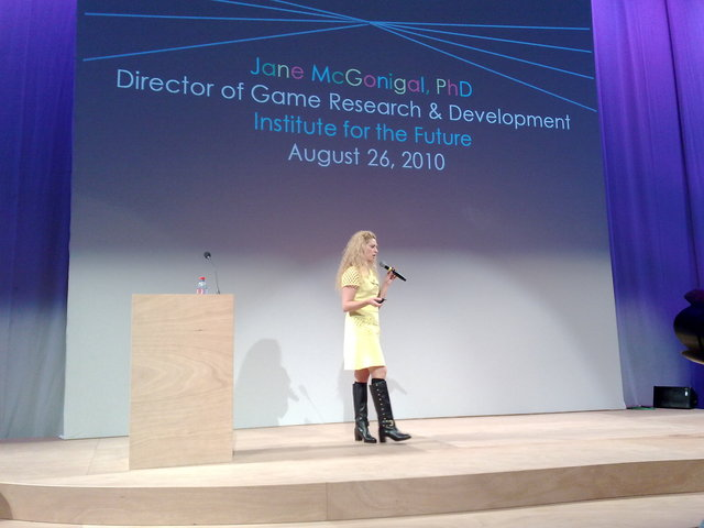 Jane McGonigal (PhD) at Speakers' Corner talking about making the world better through video gaming