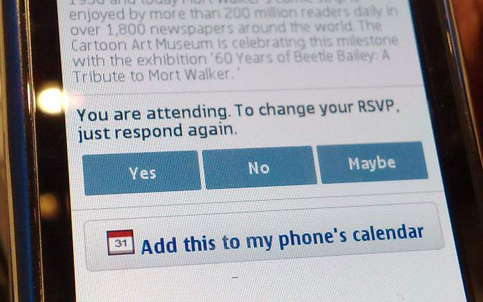 Using Nokia Social to add calendar events from Facebook