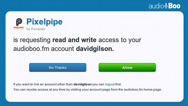 Authorizing Pixelpipe to post to Audioboo