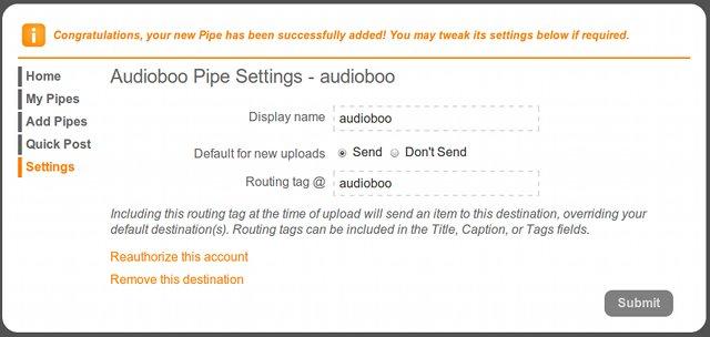 Audioboo pipe seettings at Pixelpipe