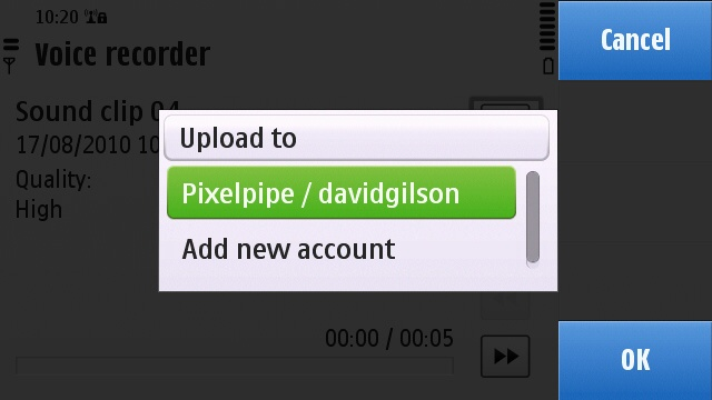 Selecting the Pixelpipe Share Online plugin