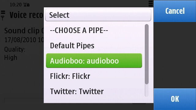 Selecting the Audioboo pipe