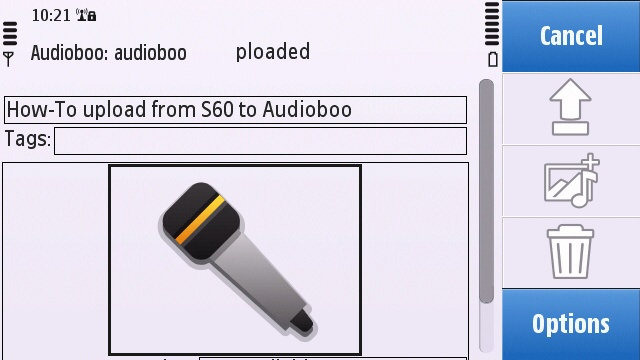 The Share Online upload interface with audio content