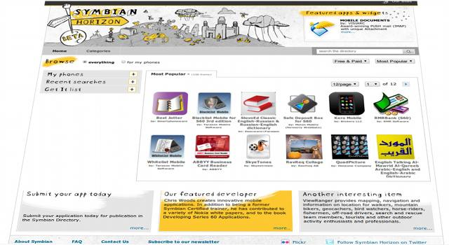 Symbian Horizon Homepage