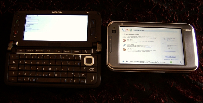 Nokia E90 and Nokia N810 accessing Gmail
