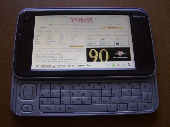 Nokia N810 displaying Yahoo UK website