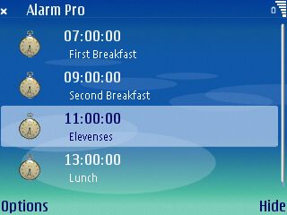 Alarm Pro for S60 3rd Edition screenshot