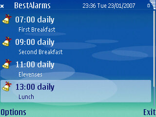 BestAlarms for S60 3rd Edition screenshot