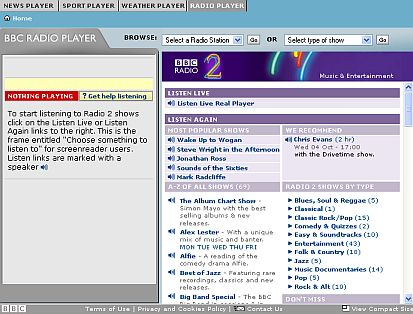 BBC Radio 2 Internet Radio website
