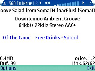 Screenshot of Internet Radio For S60 application