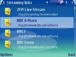 Screenshot of the built-in Realplayer software with a list of stations installed