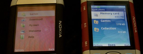 Nokia 5700 and 5300 applications menus