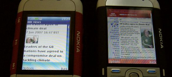 Web browsers on the Nokia 5300 and 5700