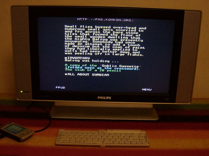 Behind Closed Doors ZX Spectrum text adventure running on the N95