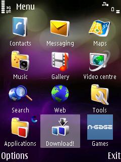 Download icon on S60 main menu screen