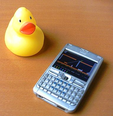 Nokia E61 running Jet Set Willy on the Speccy emulator. And a rubber duck.