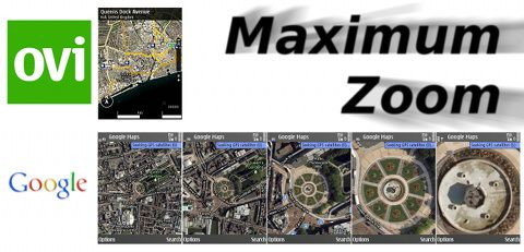 Comparing the satellite zoom of Ovi and Google maps.
