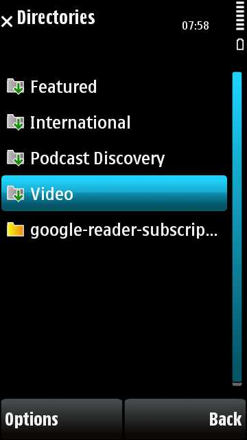 Imported podcasts directory