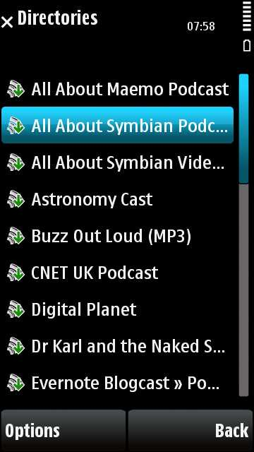 Podcasts imported from the desktop ready for subscription