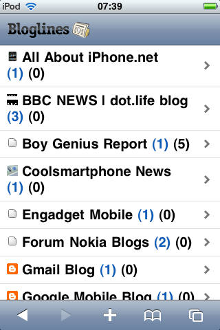 Using the specific Bloglines iPhone interface
