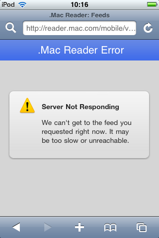 The iPhone having trouble handling an RSS feed on the device