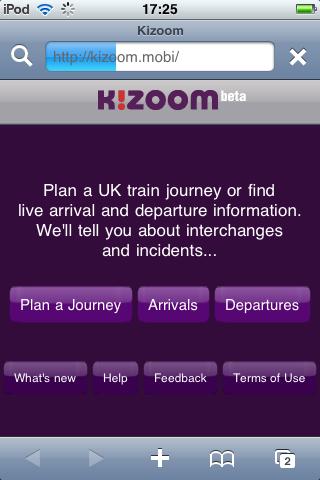 iPhone screen, Kizoom web app