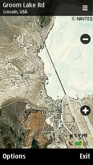 Area 51 on Nokia Maps close up view