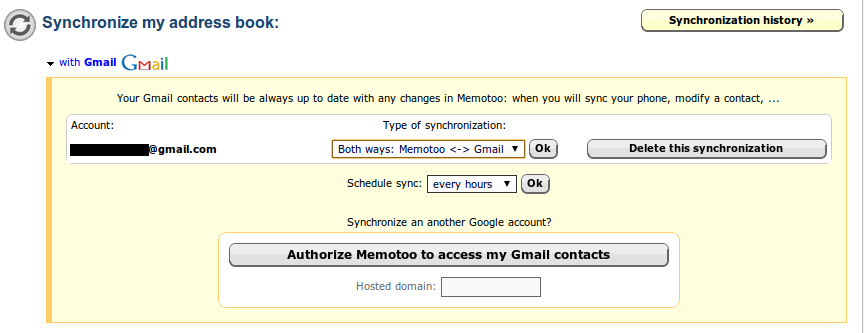 Configuring address book synchronisation with GMail