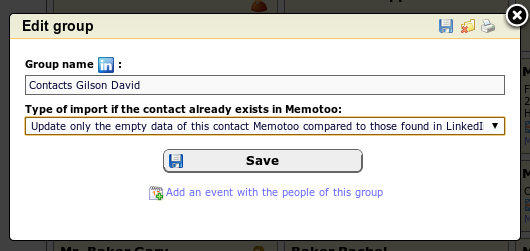 Setting the synchronisation mode for social networks in Memotoo