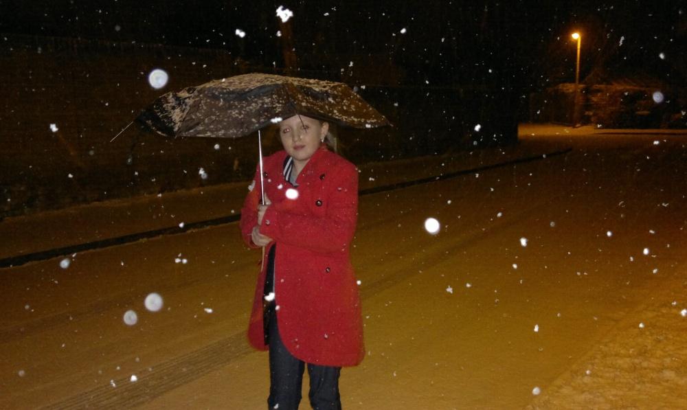 Snow scene, Xenon-lit