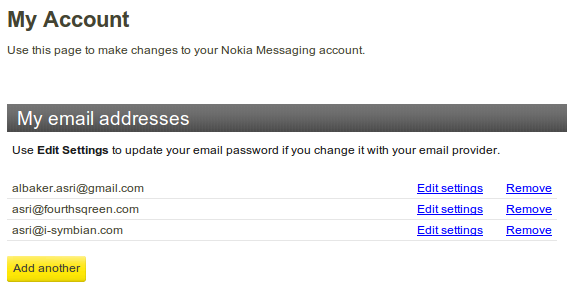 Nokia Messaging, Email list