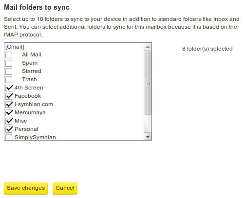Nokia Messaging, Folders List