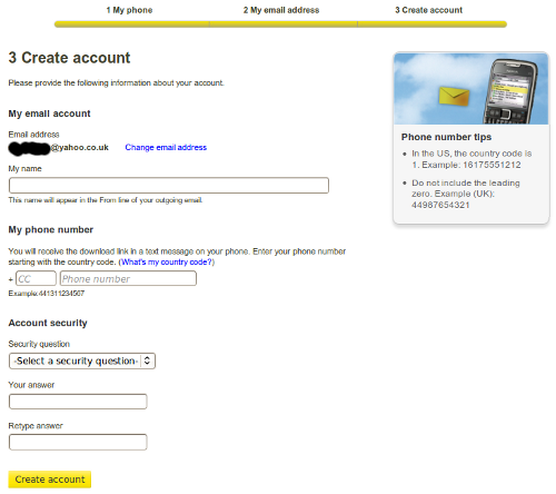 Personal details and create account