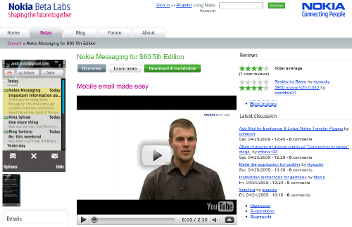 Nokia Messaging for S60 5th Edition download
