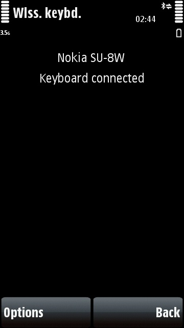 Nokia Wireless Keyboard app successfully connected to keyboard