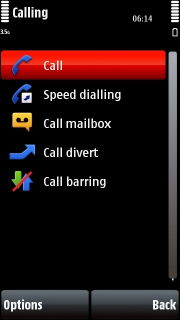 Nokia 5800 calling settings menu
