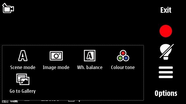 Nokia 5800 camcorder toolbar