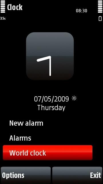 Nokia 5800 Clock application